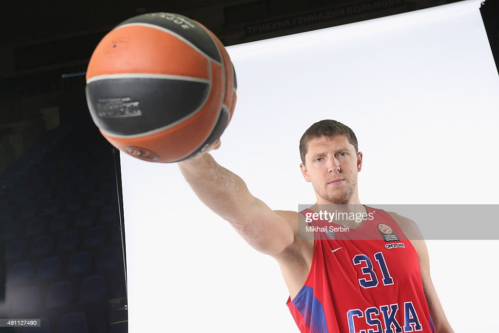 Victor Khryapa, #31 of CSKA Moscow during the 2015/2016 Turkish Airlines Euroleague Basketball Media Day at Universal Sports Hall CSKA on October 1, 2015 in Moscow, Russia.