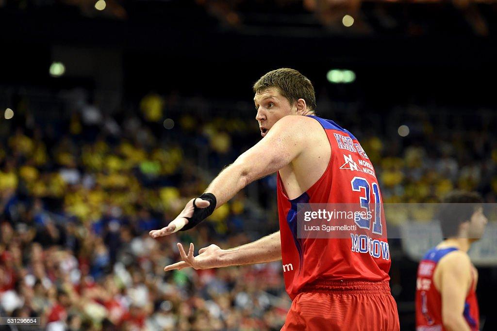 Victor Khryapa #31 of CSKA Moscow during Turkish Airlines Euroleague Final Four Berlin 2016 Semifinal 2 CSKA Moscow v Lokomotiv Kuban Krasnodar at...