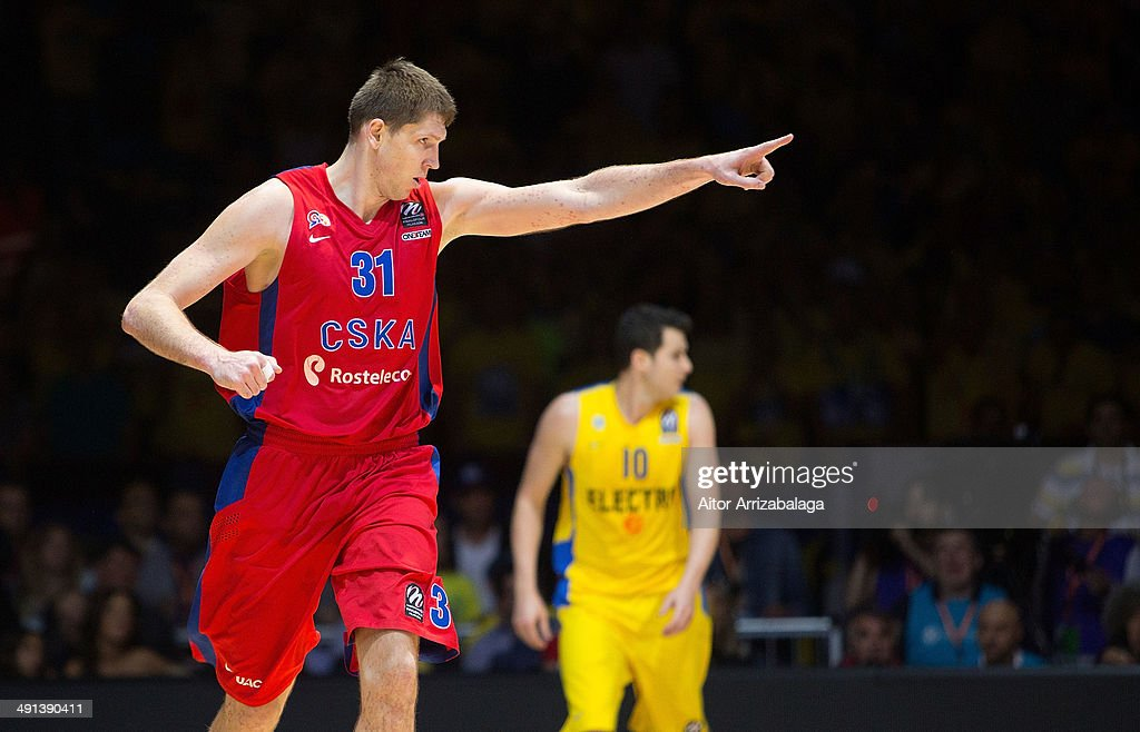 Victor Khryapa #31 of CSKA Moscow in action during the Turkish Airlines EuroLeague Final Four Semi Final B between CSKA Moscow vs Maccabi Electra Tel...