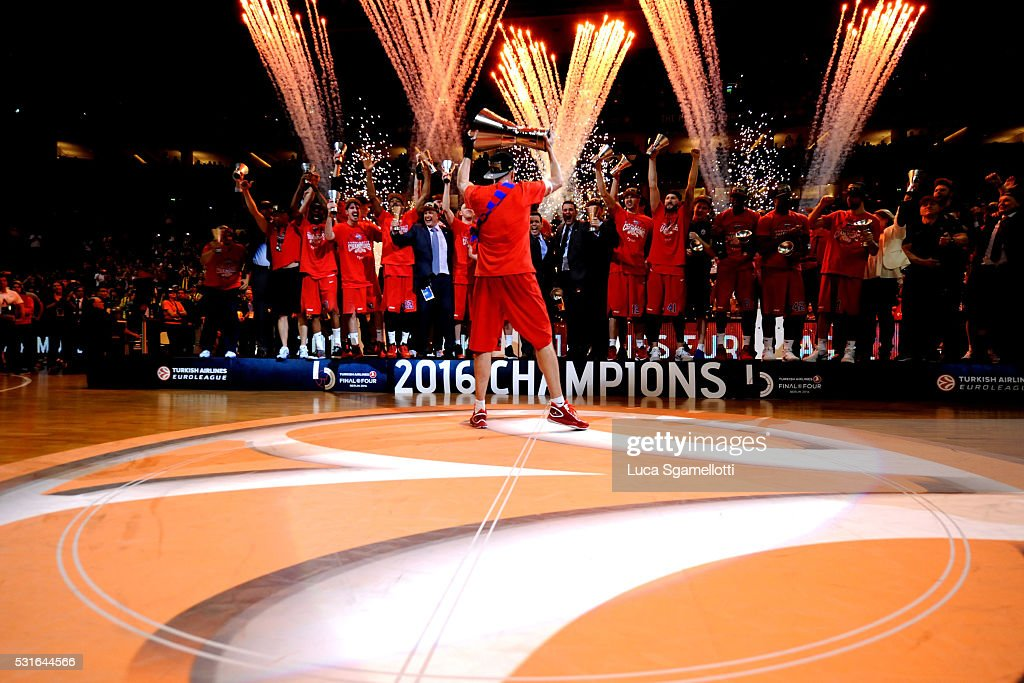 Victor Khryapa #31 of CSKA Moscow lift the Euroleague Cup during the Turkish Airlines Euroleague Basketball Final Four Berlin 2016 Championship game...