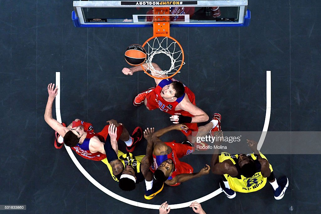 Victor Khryapa #31 of CSKA Moscow looks at the bll during the Turkish Airlines Euroleague Basketball Final Four Berlin 2016 Championship game between...
