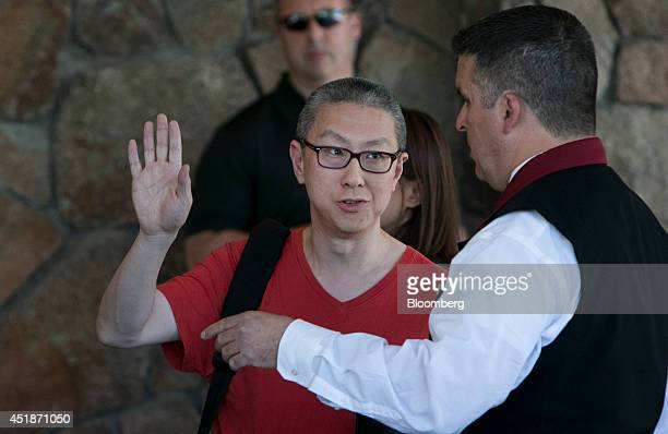 Victor Koo chief executive officer of Youku Inc center arrives at the Sun Valley Lodge ahead of the Allen Co Media and Technology Conference in Sun...