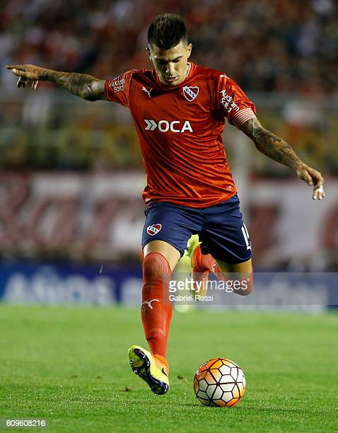 Victor Leandro Cuesta of Independiente kicks the ball during a first leg match between Independiente and Chapecoense as part of Copa Sudamericana...