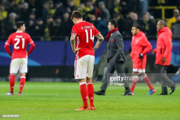 Victor Lindeloef of Benfica looks dejected after during the UEFA Champions League Round of 16 Second Leg match between Borussia Dortmund and SL...