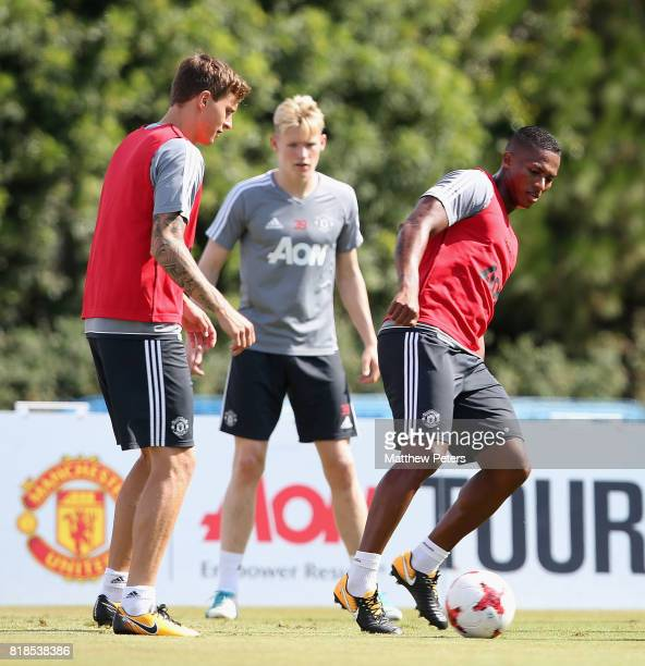 Victor Lindelof and Antonio Valencia of Manchester United in action during a first team training session as part of their preseason tour of the USA...