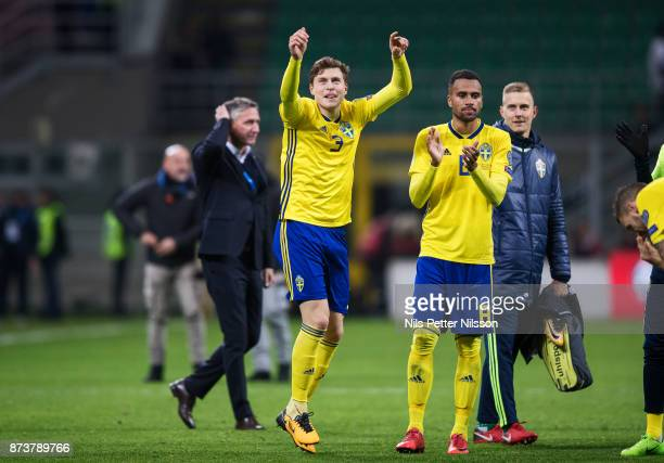 Victor Lindelof and Isaac Kiese Thelin of Sweden celebrates after the FIFA 2018 World Cup Qualifier PlayOff Second Leg between Italy and Sweden at...