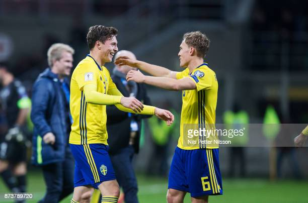 Victor Lindelof and Ludwig Augustinsson of Sweden celebrates after the FIFA 2018 World Cup Qualifier PlayOff Second Leg between Italy and Sweden at...