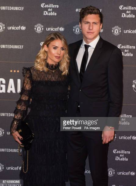 Victor Lindelof and Maja Nilsson attend a gala dinner at Old Trafford in Manchester held by Manchester United and Unicef to raise funds for the...