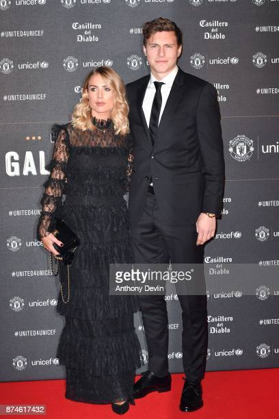 Victor Lindelof and Maja Nilsson attend the United for Unicef Gala Dinner at Old Trafford on November 15 2017 in Manchester England