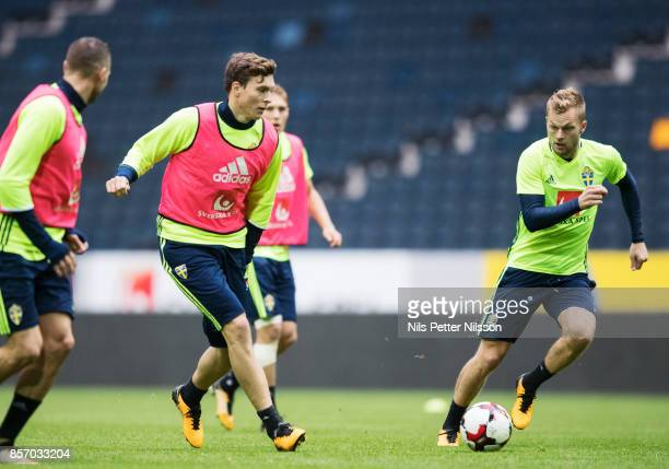 Victor Lindelof and Sebastian Larsson of Sweden during the FIFA 2018 World Cup Qualifier between Sweden and Luxembourg at Friends arena on October 3...