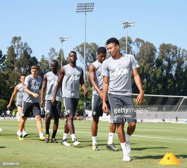 Victor Lindelof Eric Bailly Paul Pogba Marcus Rashford and Jesse Lingard of Manchester United in acton during a first team training session as part...