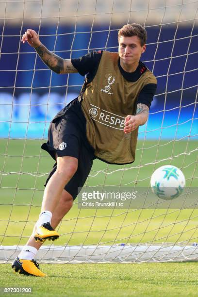 Victor Lindelof in action during a Manchester United training session ahead of the UEFA Super Cup at the National Arena Filip II Macedonian on August...