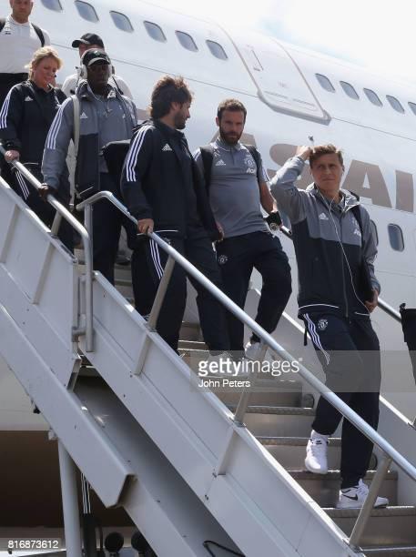 Victor Lindelof Juan Mata and Paul Pogba of Manchester United arrive in Salt Lake City ahead of the preseason friendly match between Real Salt Lake...