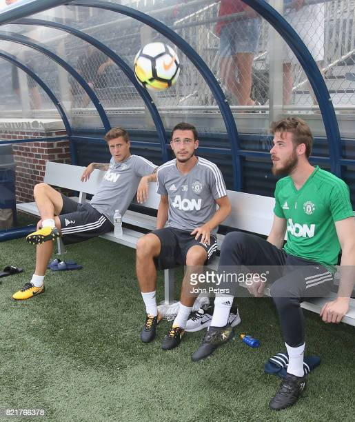 Victor Lindelof Matteo Darmian and David de Gea of Manchester United in action during a first team training session as part of their preseason tour...