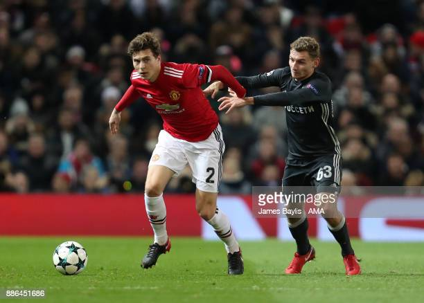 Victor Lindelof of Manchester United and Fedor Chalov of CSKA Moscow during the UEFA Champions League group A match between Manchester United and...