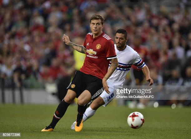 Victor Lindelof of Manchester United and Gianluca Caprari of Sampdoria during the Aon Tour pre season friendly game between Manchester United and...