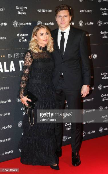 Victor Lindelof of Manchester United and his partner attend the annual United for UNICEF gala dinner at Old Trafford on November 15 2017 in...