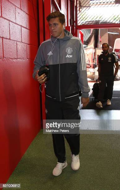 Victor Lindelof of Manchester United arrives ahead of the Premier League match between Manchester United and West Ham United at Old Trafford on...