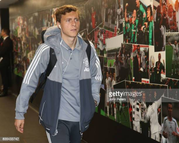 Victor Lindelof of Manchester United arrives ahead of the Premier League match between Swansea City and Manchester United at Liberty Stadium on...
