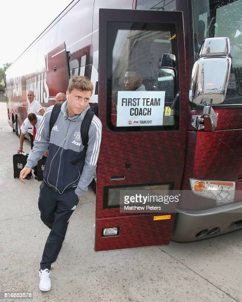 Victor Lindelof of Manchester United arrives ahead of the preseason friendly match between Real Salt Lake and Manchester United at Rio Tinto Stadium...