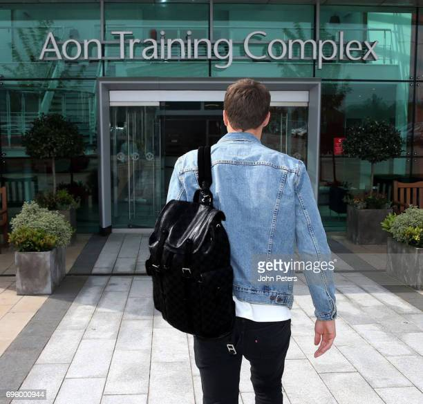 Victor Lindelof of Manchester United arrives at Aon Training Complex ahead of signing for the club on June 14 2017 in Manchester England