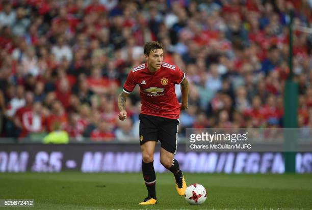 Victor Lindelof of Manchester United during the Aon Tour pre season friendly game between Manchester United and Sampdoria at Aviva Stadium on August...