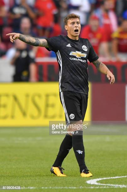 Victor Lindelof of Manchester United gestures on field during the International friendly game against Real Salt Lake at Rio Tinto Stadium on July 17...