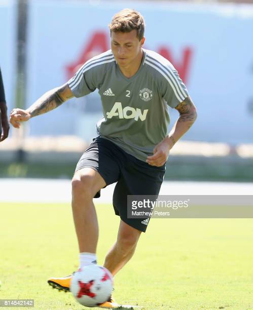 Victor Lindelof of Manchester United in action during a first team training session as part of their preseason tour of the USA at UCLA on July 14...