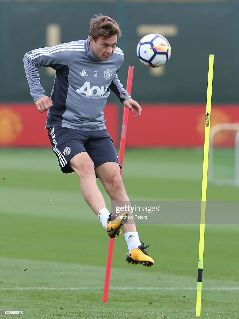 Victor Lindelof of Manchester United in action during a first team training session at Aon Training Complex on August 22, 2017 in Manchester, England.
