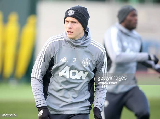 Victor Lindelof of Manchester United in action during a first team training session at Aon Training Complex on November 27 2017 in Manchester England