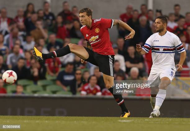 Victor Lindelof of Manchester United in action during the International Champions Cup preseason friendly match between Manchester United and...