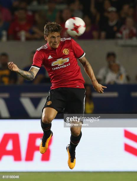 Victor Lindelof of Manchester United in action during the preseason friendly match between LA Galaxy and Manchester United at StubHub Center on July...