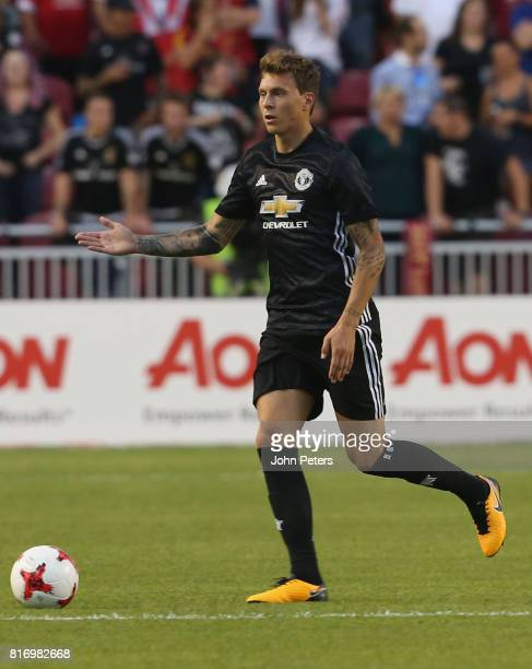 Victor Lindelof of Manchester United in action during the preseason friendly match between Real Salt Lake and Manchester United at Rio Tinto Stadium...