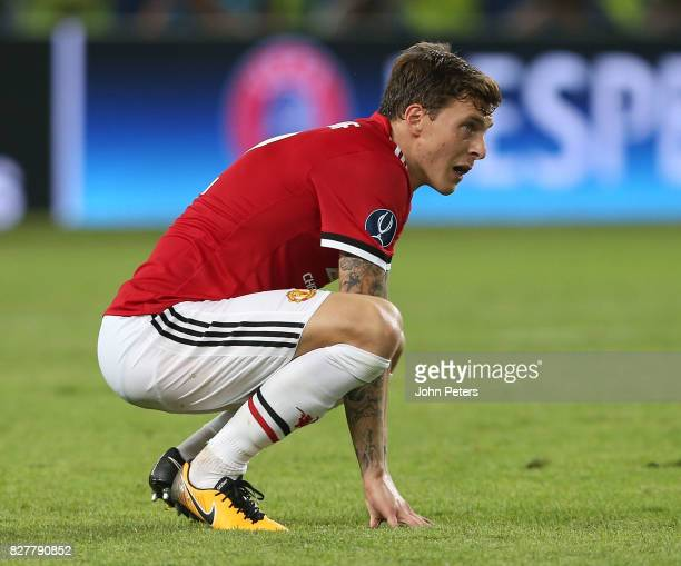 Victor Lindelof of Manchester United in action during the UEFA Super Cup match between Real Madrid and Manchester United at Philip II Arena on August...