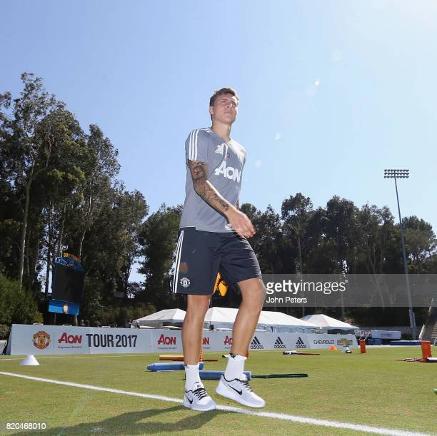 Victor Lindelof of Manchester United in acton during a first team training session as part of their preseason tour of the USA at UCLA on July 21 2017...