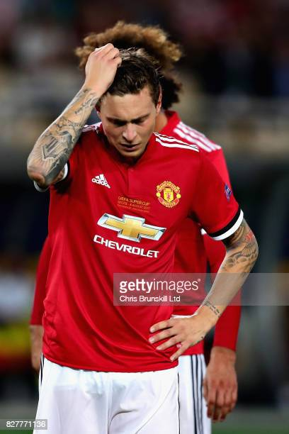 Victor Lindelof of Manchester United looks dejected during the UEFA Super Cup match between Real Madrid and Manchester United at National Arena Filip...