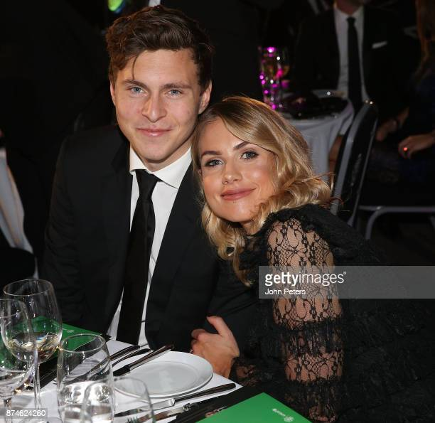 Victor Lindelof of Manchester United poses with his partner Maja Nilsson at the annual United for UNICEF gala dinner at Old Trafford on November 15...