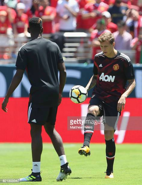 Victor Lindelof of Manchester United warms up ahead of the International Champions Cup 2017 preseason friendly match between Real Madrid and...
