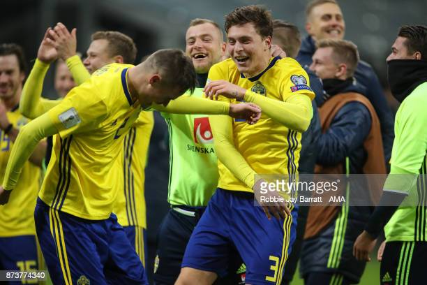 Victor Lindelof of Sweden celebrates during the FIFA 2018 World Cup Qualifier PlayOff Second Leg between Italy and Sweden at San Siro Stadium on...