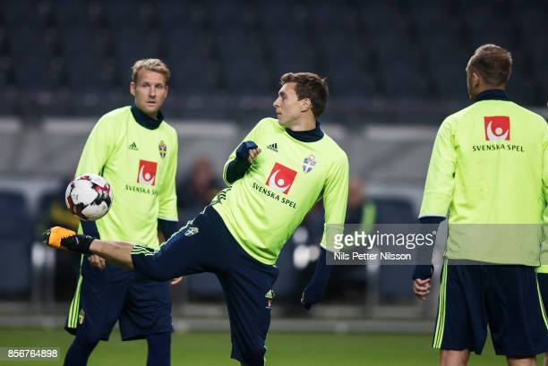 Victor Lindelof of Sweden during a training session ahead of the FIFA 2018 World Cup Qualifier between Sweden and Luxembourg at Friends arena on...