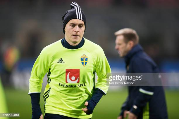 Victor Lindelof of Sweden during a training session ahead of the FIFA 2018 World Cup Qualifier PlayOff Second Leg between Italy and Sweden at San...