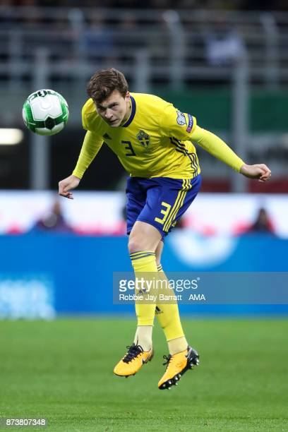 Victor Lindelof of Sweden during the FIFA 2018 World Cup Qualifier PlayOff Second Leg between Italy and Sweden at San Siro Stadium on November 13...