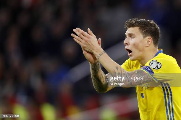 Victor Lindelof of Sweden during the FIFA World Cup 2018 qualifying match between The Netherlands and Sweden at the Amsterdam Arena on October 10...