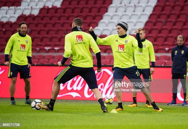 Victor Lindelof of Sweden during training prior to the FIFA 2018 World Cup Qualifier between Netherlands and Sweden at Amsterdam ArenA on October 9...