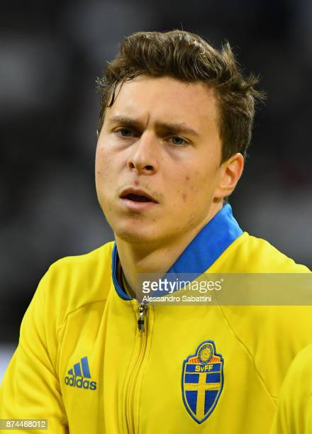 Victor Lindelof of Sweden looks on during the FIFA 2018 World Cup Qualifier PlayOff Second Leg between Italy and Sweden at San Siro Stadium on...