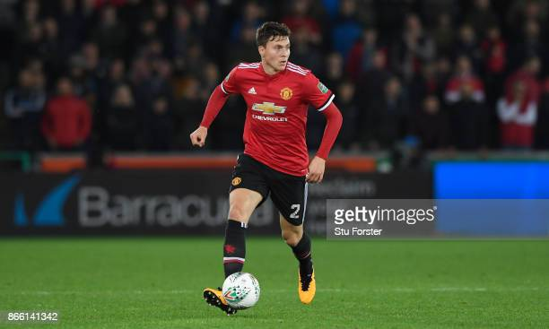 Victor Lindelof of United in action during the Carabao Cup Fourth Round match between Swansea City and Manchester United at Liberty Stadium on...