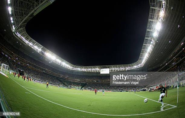 Victor Luis of Palmeiras during a corner kick during the match between Palmeiras and Sport Recife for the Brazilian Series A 2014 at Allianz Parque...
