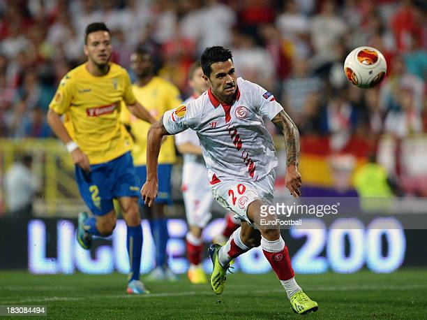 Victor Machin of Sevilla FC in action during the UEFA Europa League group stage match between Estoril Praia and Sevilla FC held on September 19 2013...