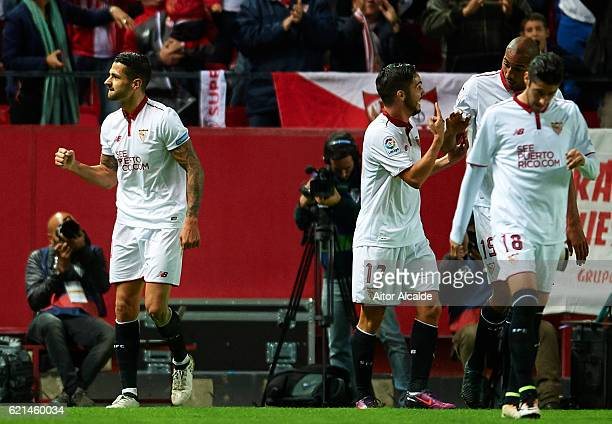 Victor Machin Perez 'Vitolo' of Sevilla FC celebrates after scoring during the match between Sevilla FC vs FC Barcelona as part of La Liga at Ramon...