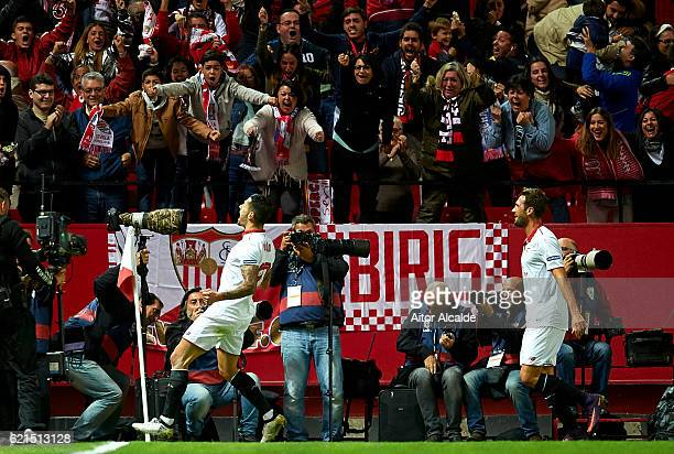 Victor Machin Perez 'Vitolo' of Sevilla FC celebrates after scoring the first goal during the match between Sevilla FC vs FC Barcelona as part of La...